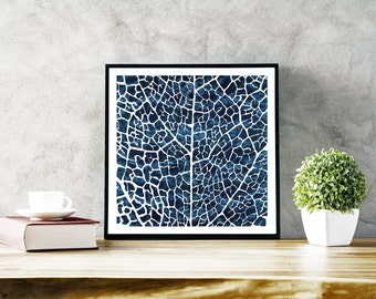 Abstract Art Print , Original Large Print , white blue , Contemporary Art Modern, Leaf Pattern Print, Botanical Leaf Print, Botanical Poster