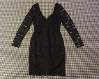 1990's, sheer sleeve, black, lace, mini-dress, Women's size 2