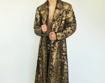 CUSTOM Glam Fur TRENCHCOAT in Gold or Silver Metallic Faux Fur by Sublime Designs--Choose your Liner!