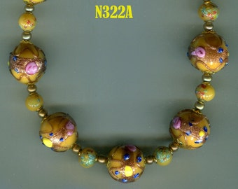Venetian Murano Fiorato Wedding Cake Bead Necklace & Earrings, Amber N322A
