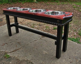 Large Dog Pet Feeder, Dog Feeding Station, Red Oak Stained top with Black Distressed, Four Bowl Elevated Pet Stand, Made To Order