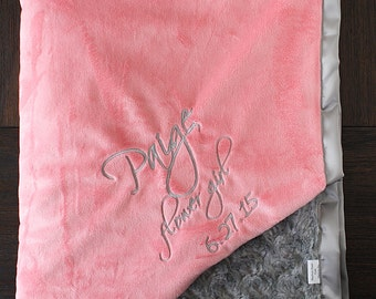 Minky Blanket, Embroidered Custom blanket, blanket with name, gift for baby, Coral and Grey, flower girl gift, Engraved Monogrammed blanket