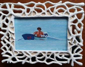 "Stone Harbor, NJ Original Mini Painting Lifeguard in Boat #10, New Jersey, Coastal Art, Beach Art, Gouache on paper framed 2""x3"""