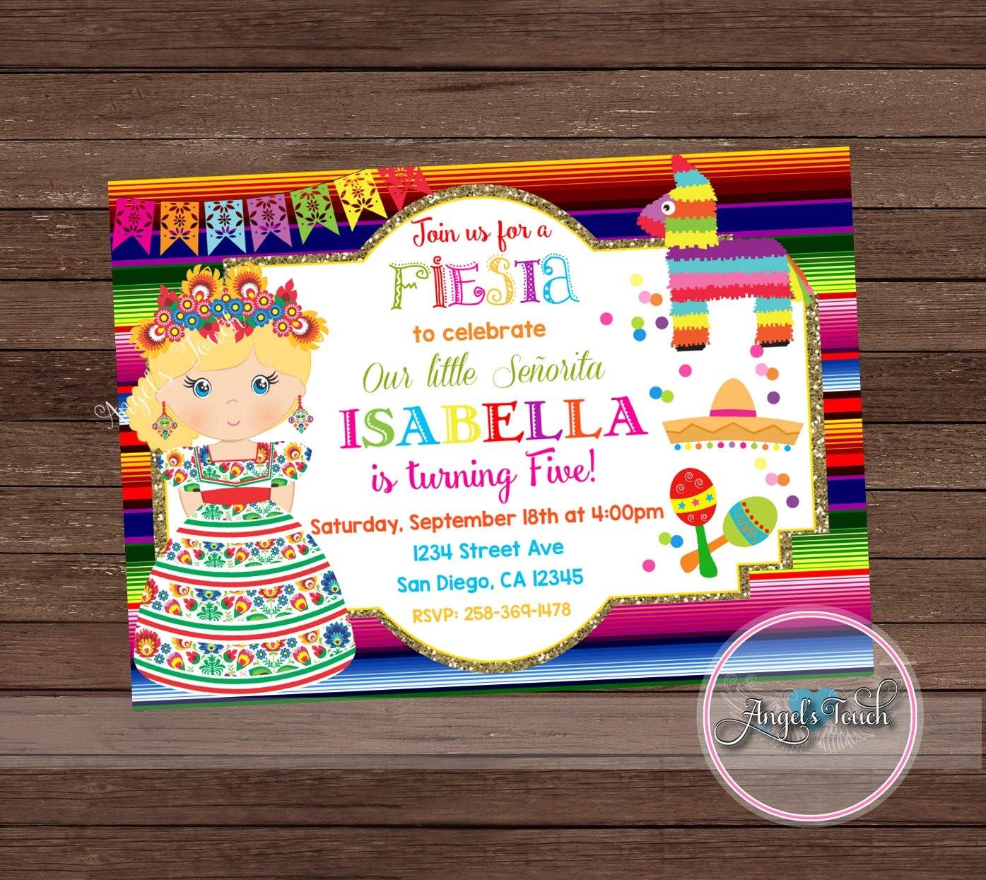 Fiesta Party Invitation, Fiesta Birthday Invitation, Fiesta Birthday ...