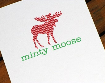 Minty Moose Christmas Card Set of 10