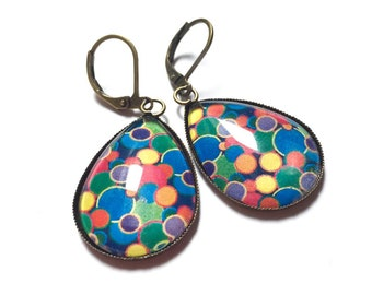 Earrings dangle cabochon * Pop *, cabochon jewel, pattern Pop small multicolored round glass cabochon earrings