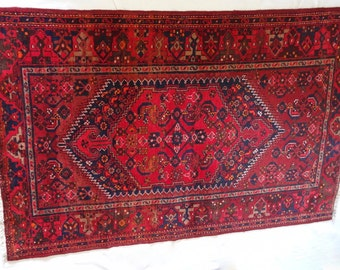 Large red and blue persian rug vintage hand knotted pure wool deep colours oriental accent livingroom coffee table 200x130 cm 6.5'x4.2'