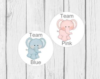Gender Reveal Stickers Baby Boy Baby Girl Team Blue Team Pink Elephants Gender Party 24 stickers