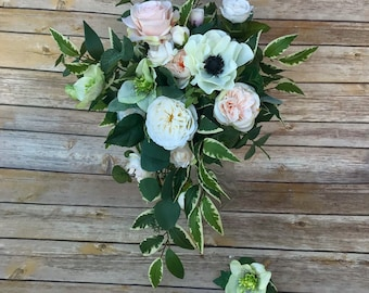 Cascading Silk (Faux) Bridal Bouquet with Matching Boutonnière