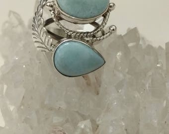 Abstract Larimar Ring Size 6 1/2