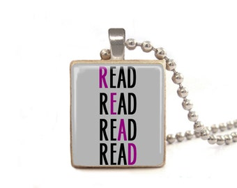 Read Necklace | Book Necklace | Book Pendant | Teacher Gift | Gift for Librarian | Gift for Student | Game Piece Necklace | Wood Jewelry