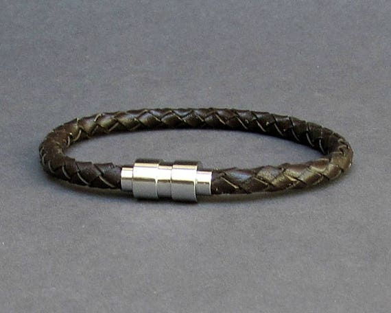 Titanium Stainless Steel, Braided, Mens Leather Bracelet, Mens Leather bracelet Cuff Gift For Men Customized On Your Wrist