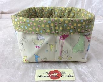 Handmade Fabric Basket Storage Bin short Nursery Animals
