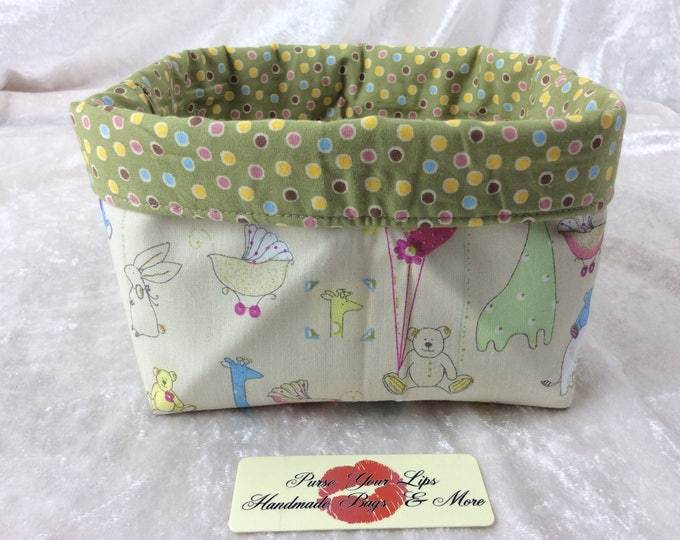 Handmade Fabric Basket Storage Bin short Nursery Animals
