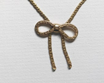 Vintage Gold Tied Bow Necklace