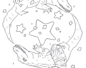 Colouring page - fabulous crocodiles