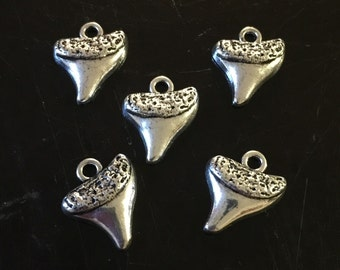 5 PC Shark Tooth Charms-Shark's Tooth Charm-Antique Silver Tone Charm