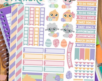 Easter Animals Stickers Planner Printable - Cute Lamb, Chick, Easter Bunny Print and Cut Stickers