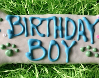 Dog Treats//Birthday Boy Bone Homemade Gourmet Peanut Butter Treat for Dogs