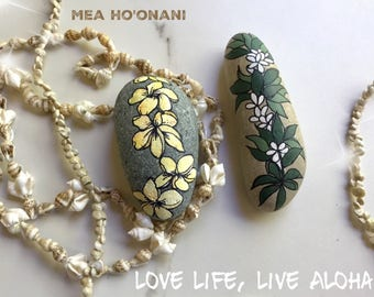 Painted Rocks. Set of two. Lei Pohaku. Great for home and garden decor.  Great as gifts!  One of a kind.  Collectible.