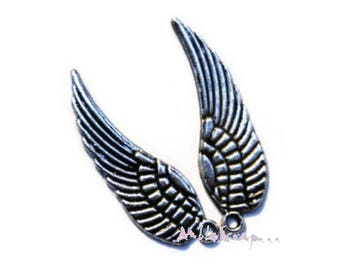Set of 5 pairs of wings silver embellishment scrapbooking card making *.