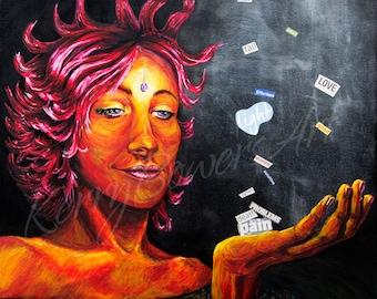Contemporary Art Print of original mixed media piece, face, PRESENCE - States of Consciousness Part 3