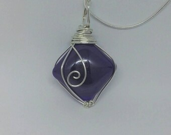 Wire wrapped pendant on a snake chain silver necklace 925 sterling silver.