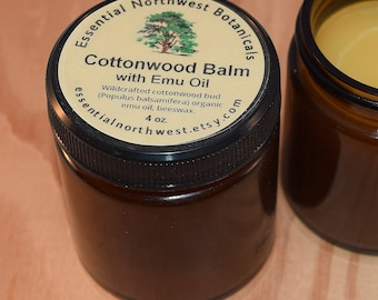 Cottonwood Balm w/ Emu Oil  4 oz. jar - Balm of Gilead - Cottonwood Salve