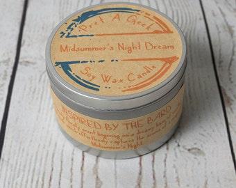Midsummer's Night Dream Soy Wax Candle // Inspired by the Bard // Shakespeare Candles // Literary Gifts // Book Candles // 8oz