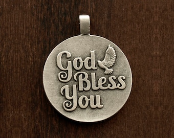 God Bless You, Silver plated pendant, Code: T51