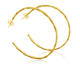 Bamboo Hoops Medium and Large Earrings #14K Gold Plated over 925 Sterling Silver #Azaggi E0262G