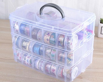 Washi tape Storage Case / Masking Tape Organizer / Washi Tape Holder/Plastic Storage Box Cosmetic Case TZ2564