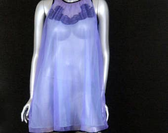 Vintage Peignoir Sheer Nightgown with Lace Trim - 50s 60s