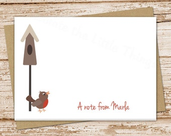 rustic birdhouse . bird note cards notecards . folded personalized stationery stationary . robin nature . set of 8