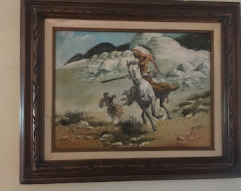 I Amaro original Indian painting on canvas Signed and Framed Free Shipping