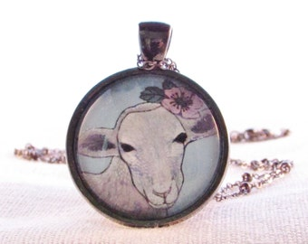 Necklace - Pendant - Lamb - White Furry Animal - Farm Animal Pendant - Pink Flower - Wild Rose Pendant - Gift for Friend - Birthday Gift