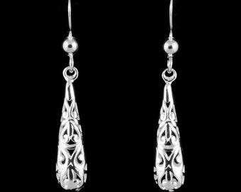 Sterling Silver Earrings, Filigree Earrings, Silver Filigree Earrings, Silver Drop Earrings, Real Silver Dangle Earrings, UK Seller