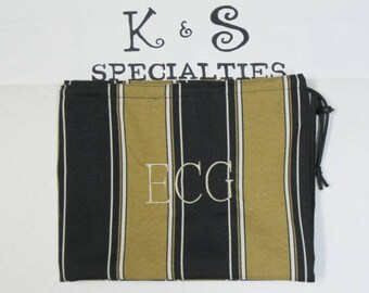 Classic Laundry Bag Made With Black & Gold Stripe Fabric/Personalized/Gifts:Graduation, Travel, College Life, Bridal Party, Summer Camp