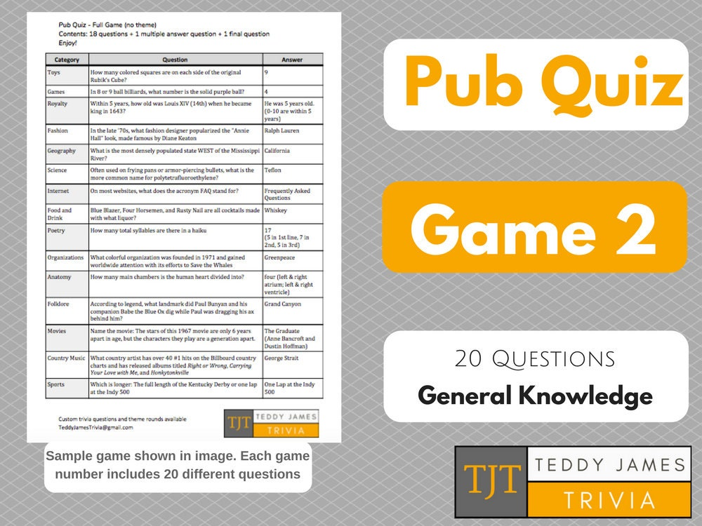 Trivia Questions for Pub Quiz Game 2 20 General Knowledge