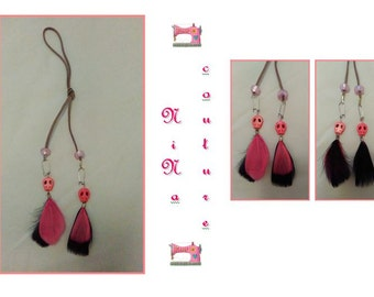 Earrings black/pink feathers