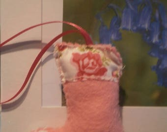 Pink felt stocking hanging decoration with vintage fabric top