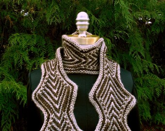 Zigzag Diamond Knit Scarf in Brown and Tan Large Size