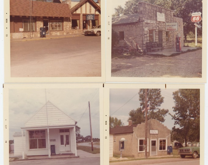 Set of 4 Vintage Snapshot Photos: Historic Missouri Post Offices, Taken 1973 (711617)