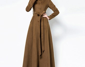 Women long full length wool jacket warm cozy coat  plus size winter coat long sleeve coat dress plus size clothing