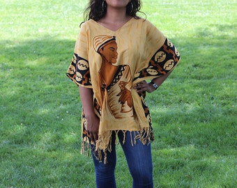 Vintage Tribal Free Size Poncho Dress or Tunic