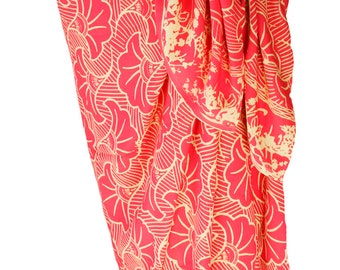 Sarong Pareo Wrap Skirt Womens Clothing Beach Sarong Coral & Cream Gingko Leaf Swimsuit Cover Up Beach Skirt Womens Swimwear - Batik Sarong