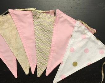Pink and Gold Bunting, Fabric Banner, Fabric Bunting