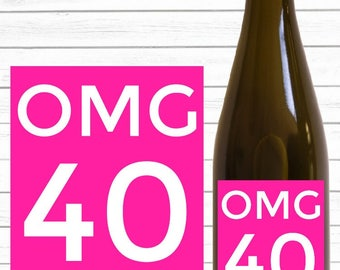 OMG 40th Birthday Wine Label (Pink) - Smart Party Planning