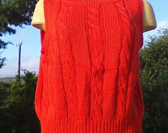 Liz Claiborne Sweater Vest-Orange / Vintage Clothing  / Retro Clothing