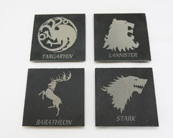 Game Of Thrones  Slate Coasters, Custom Coasters, Game Of Thrones Fans - Set of 4 - FREE Shipping